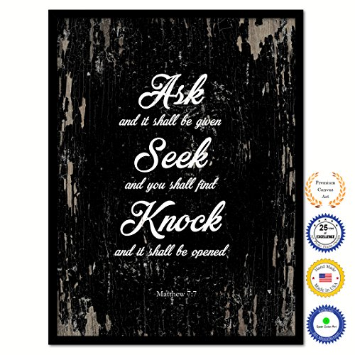 Seek And You Shall Find Matthew 7:7 Bible Verse Scripture Quote Canvas Print Picture Frame Home Decor Wall Art Gift Ideas 13