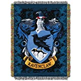 1 Piece 48 X 60 Blue White Harry Potter Theme Throw Blanket, Ravenclaw Crest Houses Of Hogwarts Scho