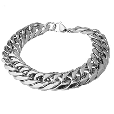 002b7d713ff Buy Mens Stainless Steel Silver Tone 16MM Wide 10 inch Length Large Heavy  Curb Link Chain Bracelet Online at Low Prices in India