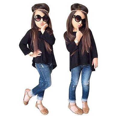 Fineser 2pcs Toddler Little Girls Spring Long Sleeve T Shirt Topsvintage Denim Pants