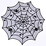 CartUp | Halloween - Black Lace Round Table Topper - Spooky Spiderweb Design - 40 Inches in Diameter