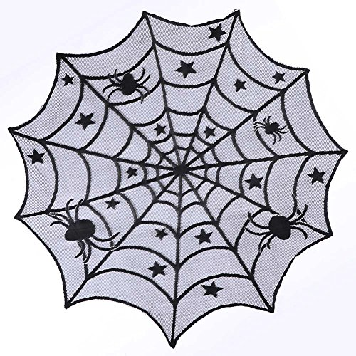D Generation X Halloween Costume (Halloween Lace Spider Round Web Tablecloth Fireplace Table Decoration Props Black New)
