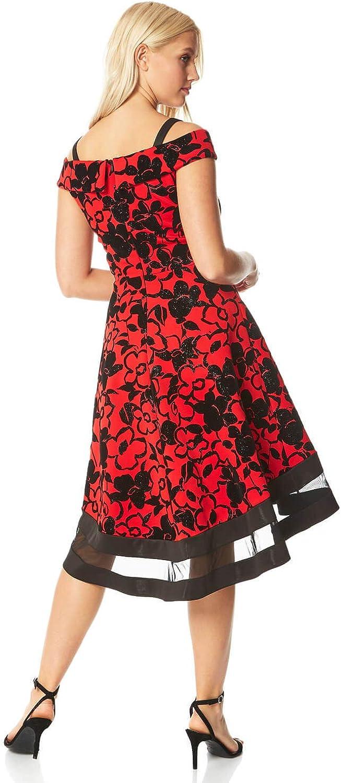 Roman Originals Women Scuba Flocked Cold Shoulder Dress Ladies Christmas Party Floral Knee Length Sweetheart Neckline Mesh Hem Dresses