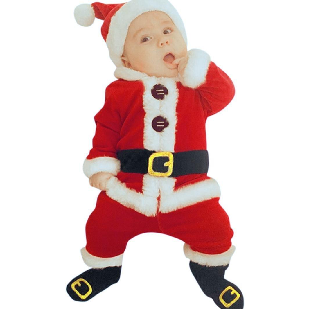Hey~Yo Baby Kinderbekleidung Overall 4 Stück Säugling Kinder Sankt Weihnachten Strampelhöschen Lange Ärmel Tops + Plüschanzug Hosen + Hut + Socken Weich Rot Outfit Set Kostüm