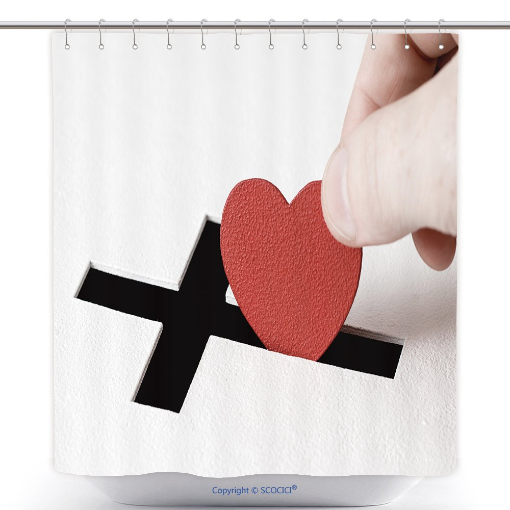 Fun Shower Curtains Hand Of Parishioner Is Inserting Heart Symbol Into Hole For Donations In Form Of Christian Cross On 411395353 Polyester Bathroom Shower Curtain Set With Hooks by