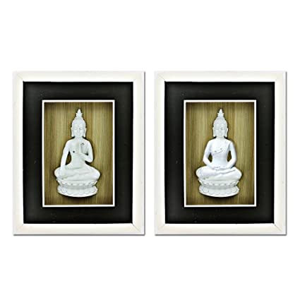 Amazon.com: Turtle King Corp Buddha Wall Hanging Art White Frame 3D ...