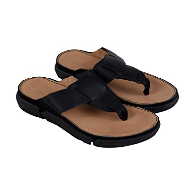 5141b38aa CLARKS Trisand Post Mens Black Leather Flip Flops Slip On Sandals Shoes 7