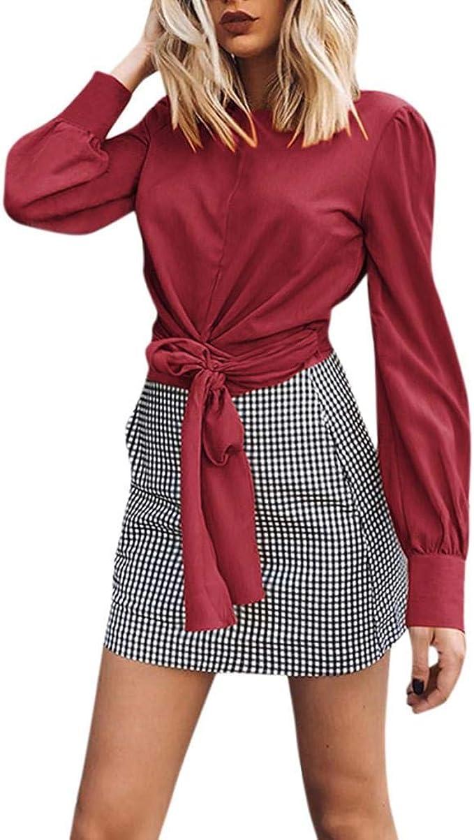 Luckycat Mujer Manga Larga Camisas Sexy Cuello Redondo sin Espalda Camisetas de Manga Larga Colores Lisos Irregular Pliegue Crop Tops Camisetas Ombligo Expuesto Remata T Shirt: Amazon.es: Ropa y accesorios