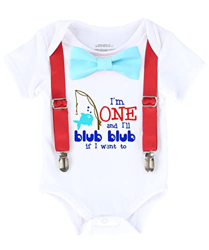 Fish Fishing First Birthday Shirt Outfit Boy One Aqua Bow Tie Red Suspenders