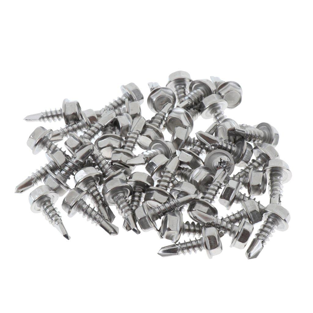 Sharplace 4.2mm Vis Auto-Perceuses /à T/ête Hexagonale En Acier Inoxydable 410 Vis Fonction Autotaraudante Argent 50mm