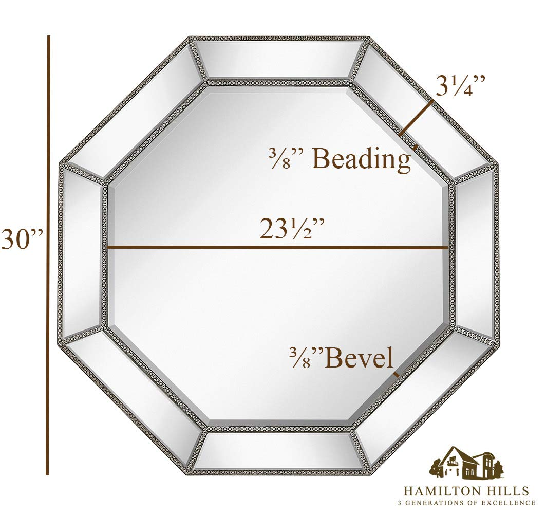 Hamilton Hills Large Framed Octagon Wall Mirror with Angled Beveled Mirror Frame Premium Silver Backed Glass Panel Vanity, Bedroom, or Bathroom Mirrored Round Overall Shape 30 Diameter