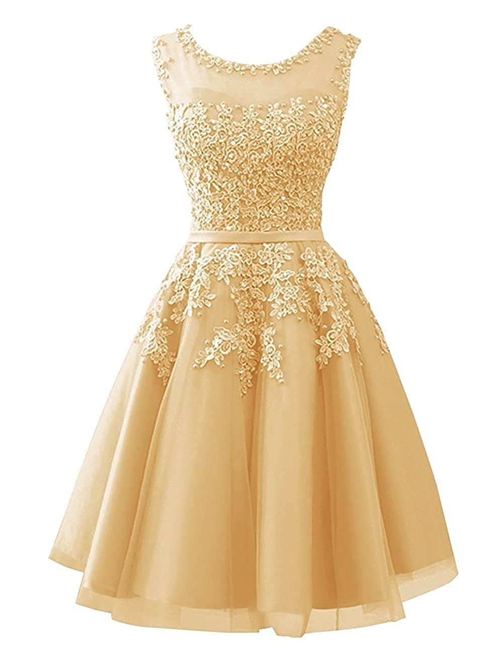 gold Cdress Tulle Short Junior Homecoming Dresses Prom Evening Dress Party Formal Gowns Lace Appliques