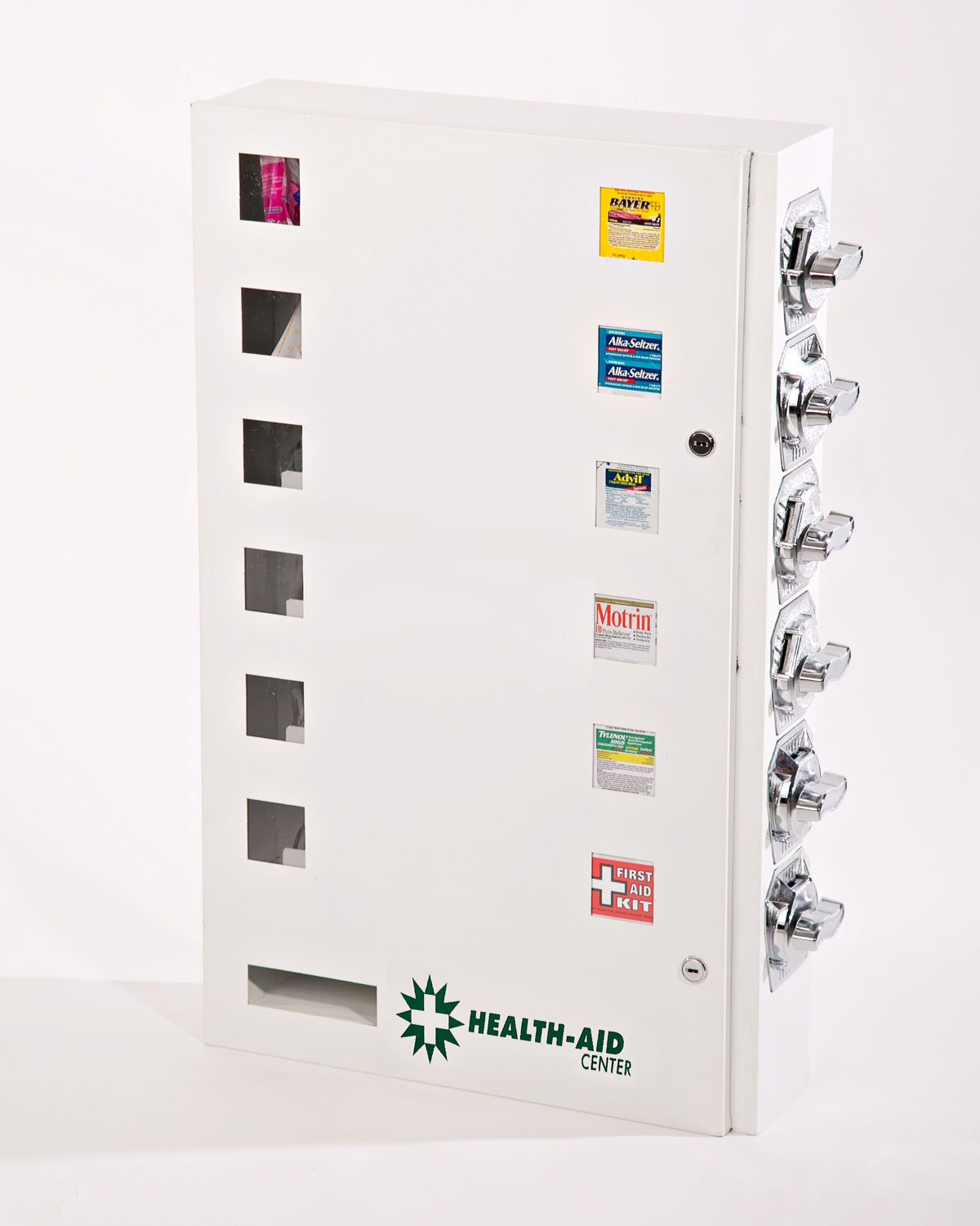 Health Aid 6 Select Medicine or Condom Vending Machine with Exclusive Heavy Duty''All Steel'' Coin MECHANISMS