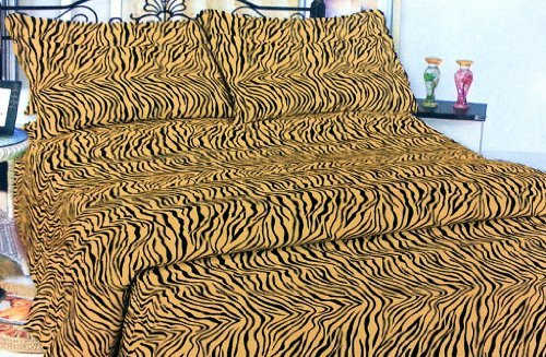 3Pc Gold Zebra Print Twin Size 800 Collection Sheet Set Safari Animal Print Bedding