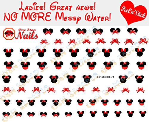 Minnie Mouse Bow V1 set of 74 clear vinyl Peel and Stick (NOT Waterslide) nail art decals/stickers by One Stop -