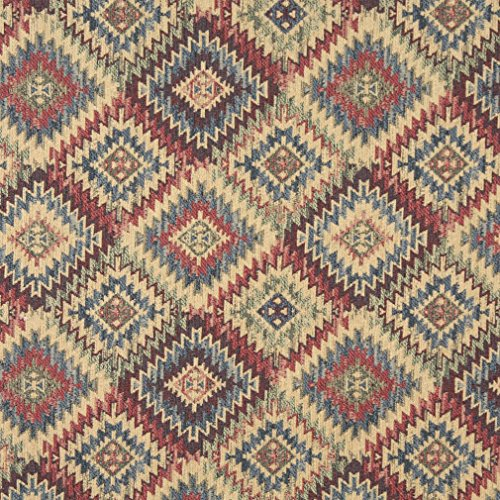 J765 Southwest Diamond Chenille Upholstery Fabric | Blue Beige Red and Green Chenille Upholstery Fabric by The Yard