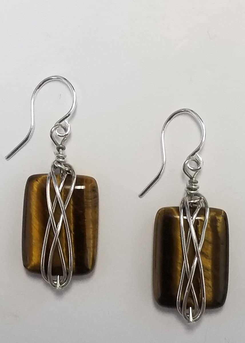 Tigers Eye Earring Wire Wrapped Rectangles