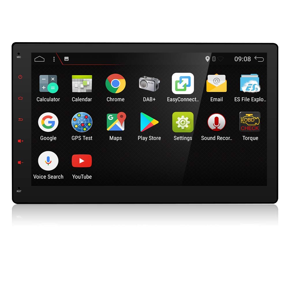 YUNTX 10.1 Inch Tablet-Style Car Stereo,In Dash Navigation with USB//SD Android 7.1 2GB RAM,16GB Tablet PC,Full HD,Plug-and-Play Entertainment System with HD Rear View Camera International