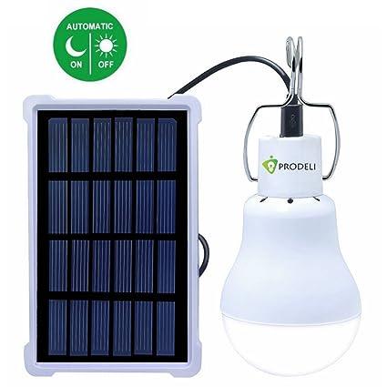 Light Sensor Solar Bulb For Outdoor, PRODELI Portable LED Light Dusk To  Dawn Solar Lamp Auto ...