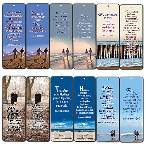 Bible Verses About Marriage Bookmarks Cards (30-Pack)- Religious Scriptures for Successful Marriage Relationship - Wedding Anniversary Husband and Wife Gifts by NewEights