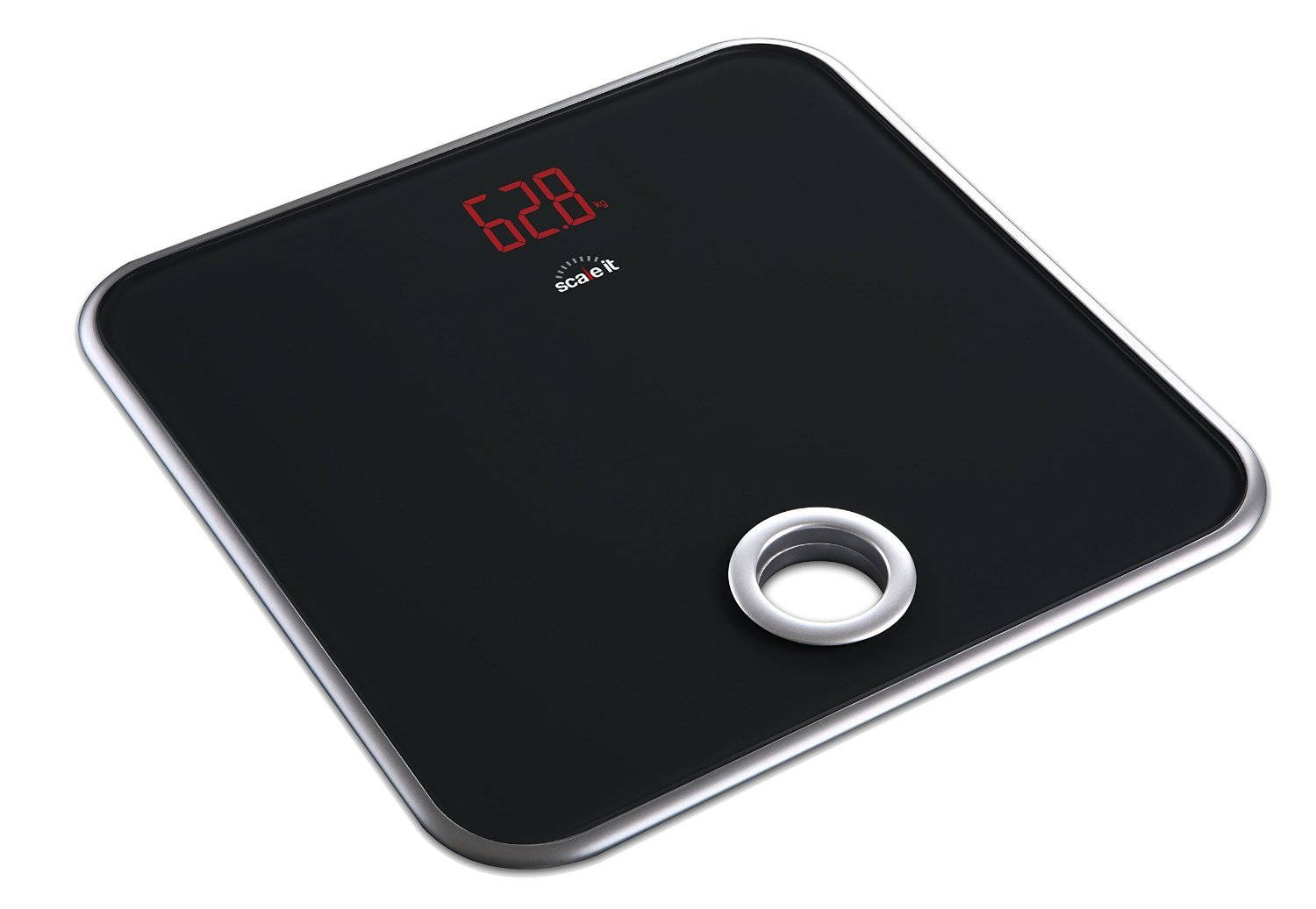 Scaleit Digital Bathroom Scale – Bright LED Display – Hang-able – Tempered Glass – 400 LB Capacity