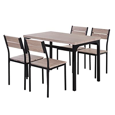 Buy Homcom 5 Piece Dining Table Furniture Set Modern Industrial Table With 4 Chairs For Dining Room Kitchen Online In Germany B07mgqrfc5