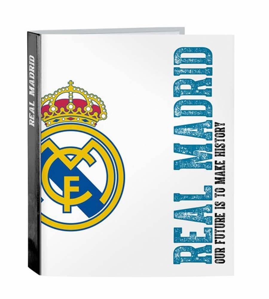 Safta SF-511754-657 - Carpeta folio 4 anillas lomo ancho, equipación 2017/2018, diseño Real Madrid: Amazon.es: Oficina y papelería