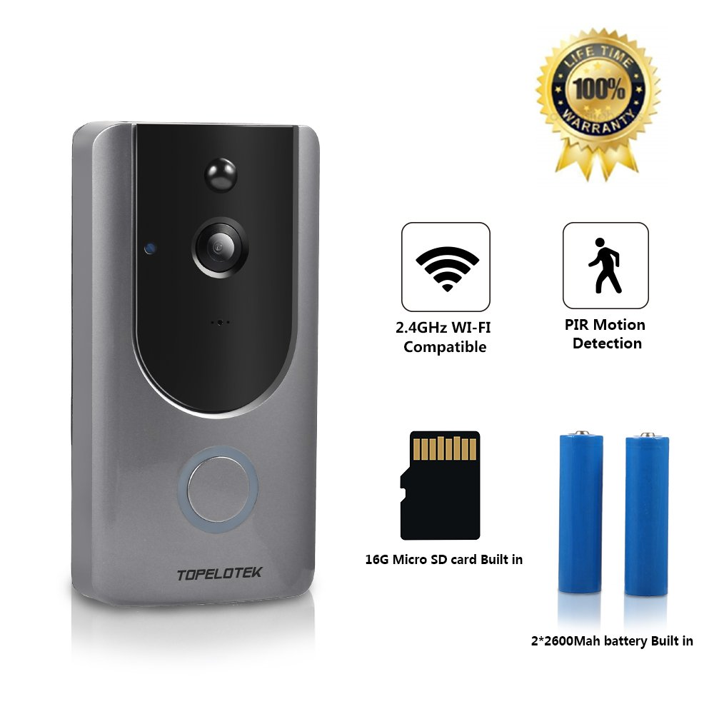 Wireless Doorbell with Camera Video Doorbell 720P 16GB Video Storage 2 Rechargeable 2600mAh Battery Two Way Audio Night Vision PIR Motion Detection APP Control with Smart Security System