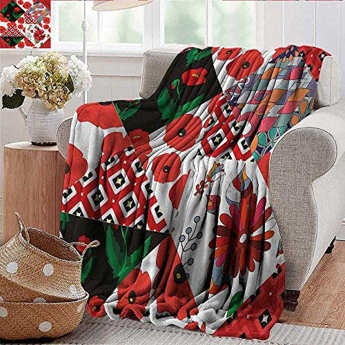 (Xaviera Doherty Weighted Blanket for Kids Retro,Slavic Patchwork Poppy Soft Summer Cooling Lightweight Bed Blanket 50