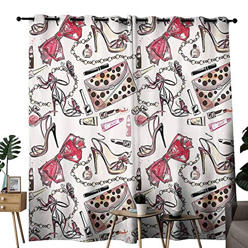 (Mannwarehouse Fashion House Decor Bedroom Windproof Curtain Female Shoes Lipstic Perfume Accessory Fancy Items for Beauty Pattern Image Set of Two Panels W72 x L96 Pink)