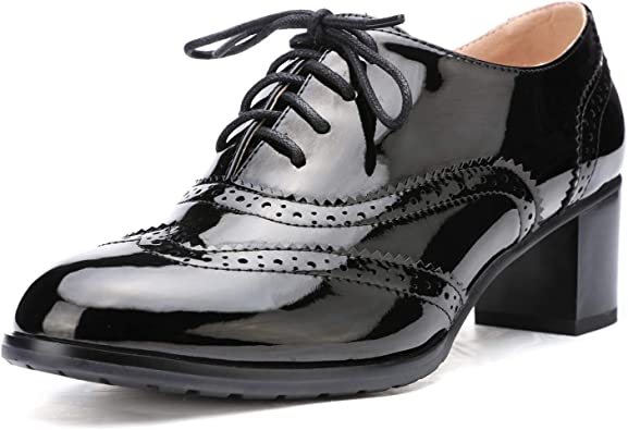 Amazon.com | Odema Womens PU Leather Oxfords Wingtip Lace up Mid Heel Pumps  Shoes … | Oxfords
