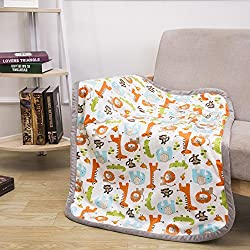 "Breathable Baby Blanket Safari Print Fleece Best Registry Gift for Newborn Soft- Perfect for Prince and Princess 30"" x 40"" (Safari)"