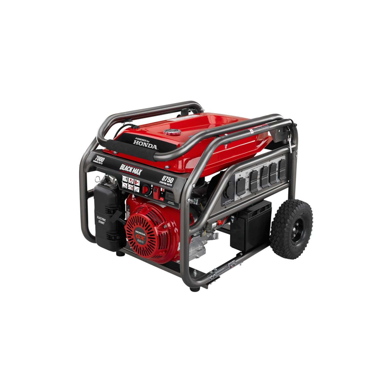 Amazon.com: Blackmax Honda Portable Gas Powered Electric Generator Outdoor  Camping With Electric Start 7,000w / 8,750w Watts: Garden U0026 Outdoor