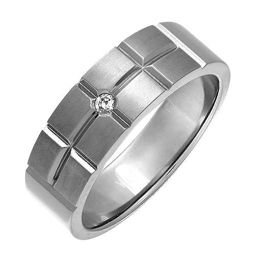 Theia Anillo Titanio de 7 mm, Corte Diseño de Ladrillo y Diamante Mate de 0