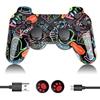 PS3 Controller Wireless, PS3 Controller Double Vibration Gamepad Remote Control Joystick Joypad Compatible with…