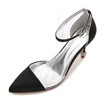 Zxstz Zapatos Cerrados de tacón Alto de tacón de Aguja de los Estiletes de  Las Mujeres Cerradas Zapatos de Novia de la Boda de la Hebilla  Amazon.es   ... a41a361e04a8