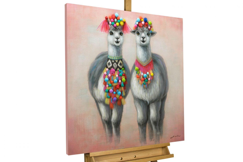 KunstLoft Bild 'Look-Alike' 80x80cm | handbemalter Kunstdruck | Tier Lama Grau Rot Südamerika 3D-Effekt | signiertes Wandbild-Unikat | Acrylbild auf Leinwand | Modernes Kunst Bild | auf Keilrahmen
