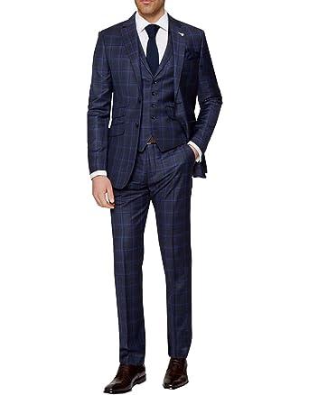 enjoy best price fine craftsmanship special discount of LoveeToo Dark Blue Plaid Wool Blend Men Wedding Suits Formal ...
