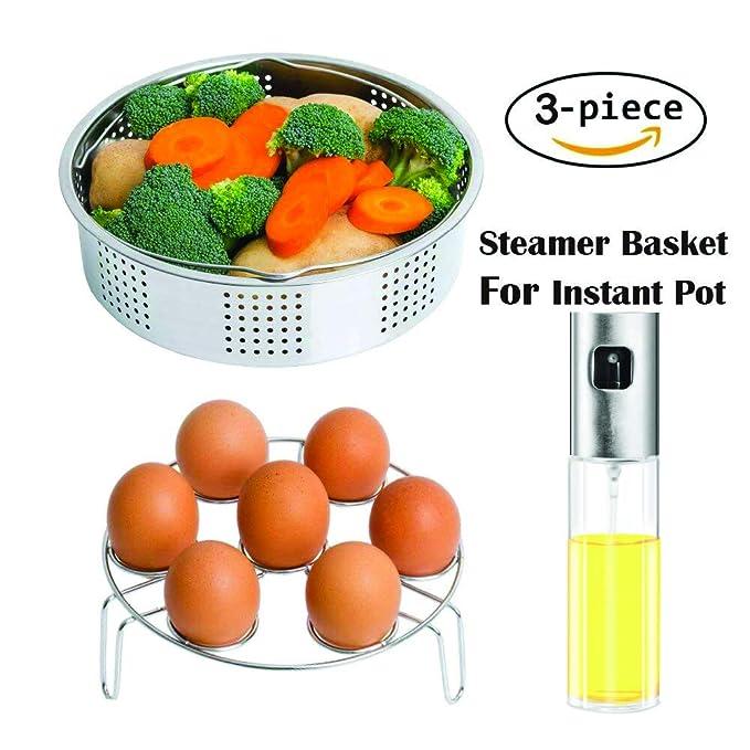 Juego de accesorios para cesta de vaporera instantánea, compatible con ollas instantáneas y ollas a presión 5, 6, 8 qt con botella de aceite de oliva para ...