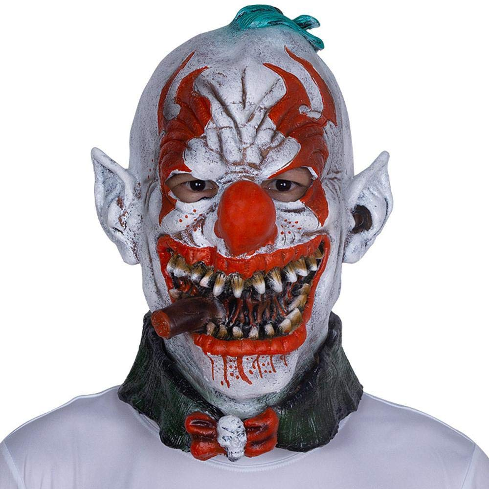 Circlefly Orrore di Halloween maschera di lattice cappa fumo commedia di festa in maschera pagliaccio prestazioni Prom Costume Props