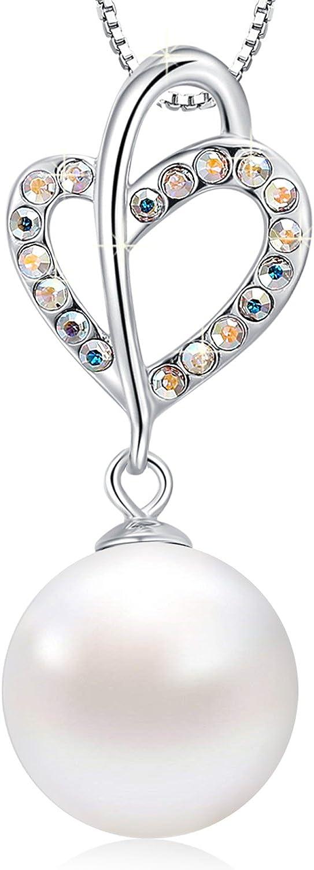 MEGACHIC Collar para Mujer Plata con Nácar Agua Dulce Perla Cristales de Swarovski