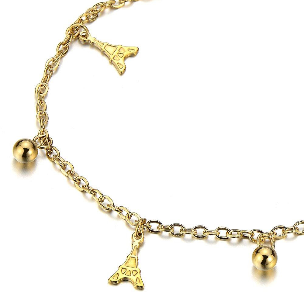 COOLSTEELANDBEYOND Acier Inoxydable Couleur dor Femme Bracelets de Cheville avec la Tour Eiffel Charms