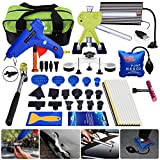 AUTOPDR 63Pcs PDR Car Auto Body Paintless Dent Repair Removal Remover Tools Kit Set Pop a Dent Puller Set Dent Lifter Hot Glue Gun Sticks Air Wedge Pump Slide Hammer T bar for Car Dent Repair