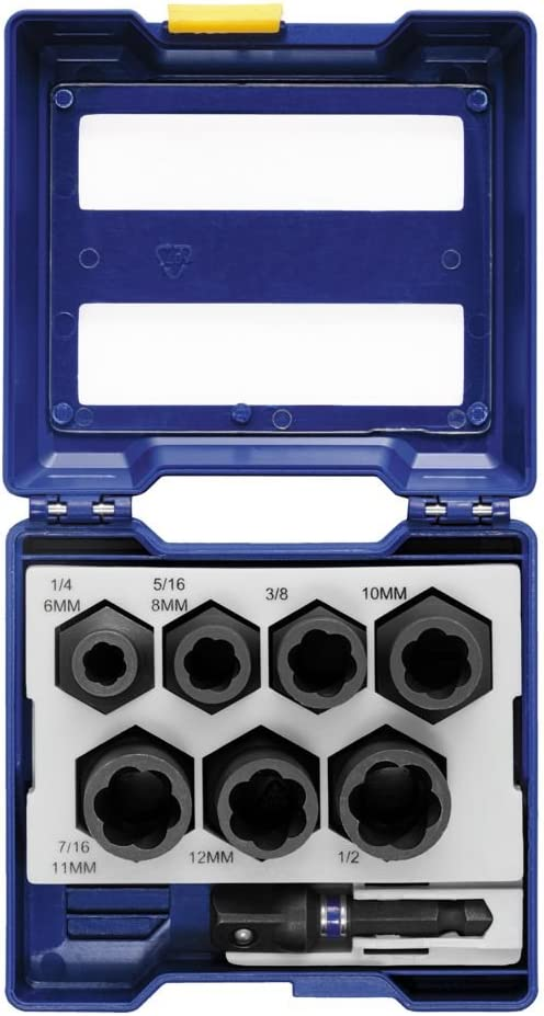 IRWIN Tools IMPACT Performance Series BOLT GRIP Bolt Extractor Set, 3/8-inch Square Drive, Drawer, 8-Piece with 1/4-inch Hex Drive to 3/8-inch Square Socket Adapter (1859150)