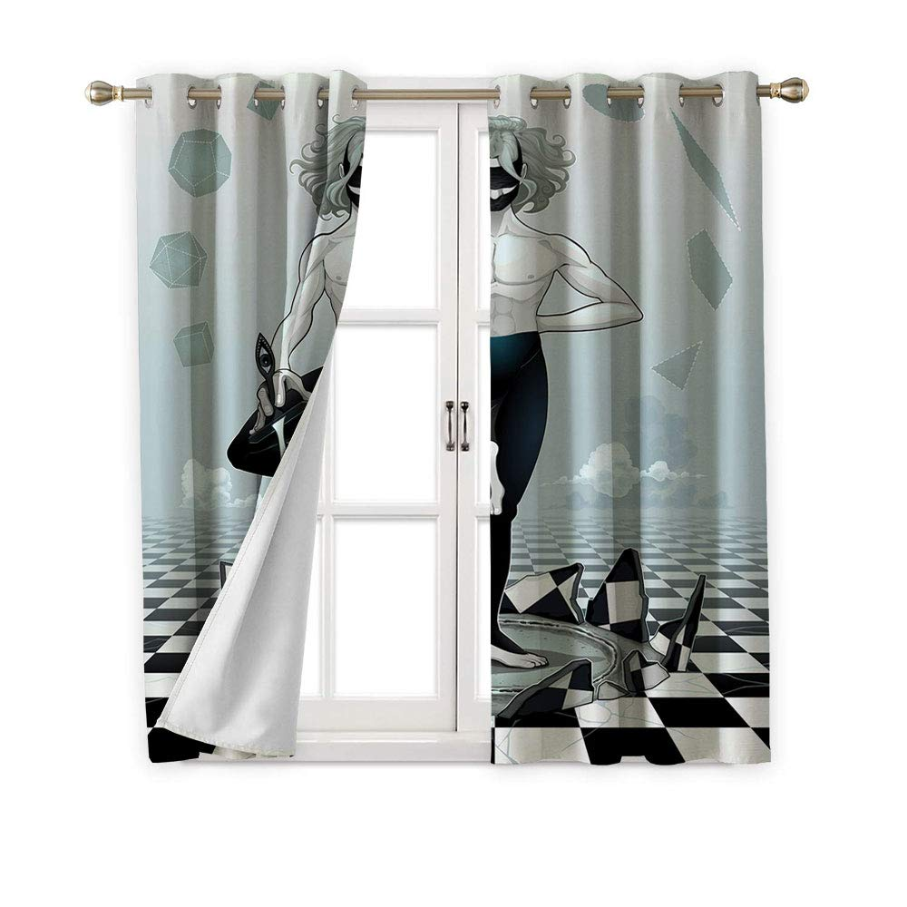 Jinguizi Tarot Card Grommets Drapes/Draperies,Mystic Man with a Sword Standing on Checkered Space,Fashion Darkening Curtains,72W x 45L by Jinguizi (Image #1)