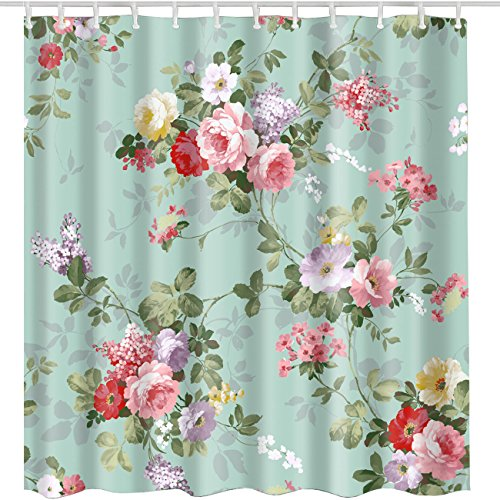 BROSHAN Aqua Rose Flower Shower Curtain 72x72 Inch,Vintage Elegant Rose Floral with Leaves Spring Blossom Retro Bath Curtain,Polyester Fabric Waterproof Bathroom Accessories with Hooks