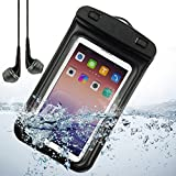 Black waterproof Pouch bag for huawei Ascend P7 / P6 / Ascend D2 / Ascend G6 and other HUAWEI smartphone + VanGoddy Headphone with MIC ,Black