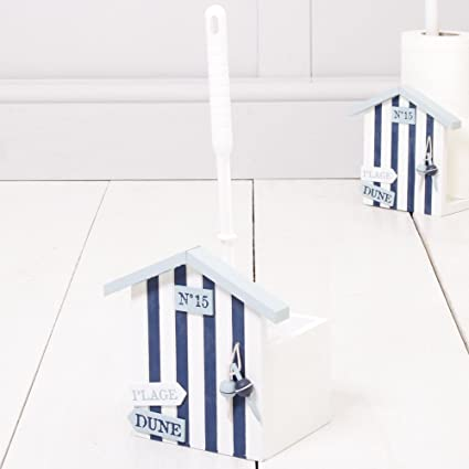 Novedad Vintage náuticas tema Escobilla de baño y soporte de casetas de playa – azul y
