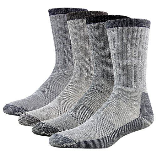 Boot Sock Blend (4 Pairs Wool Thermal Socks, RTZAT Men's Women's All Cushion Arch Support Premium Wool Blend Hunting Camping Hiking Winter Boots Socks Black Large)