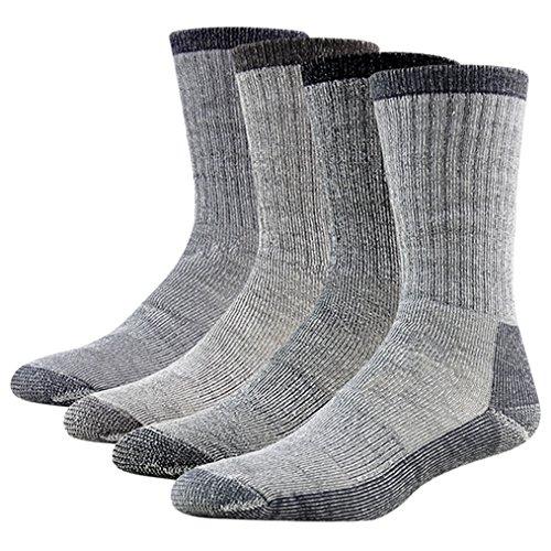 Blend Boot Sock (4 Pairs Wool Thermal Socks, RTZAT Men's Women's All Cushion Arch Support Premium Wool Blend Hunting Camping Hiking Winter Boots Socks Black Large)